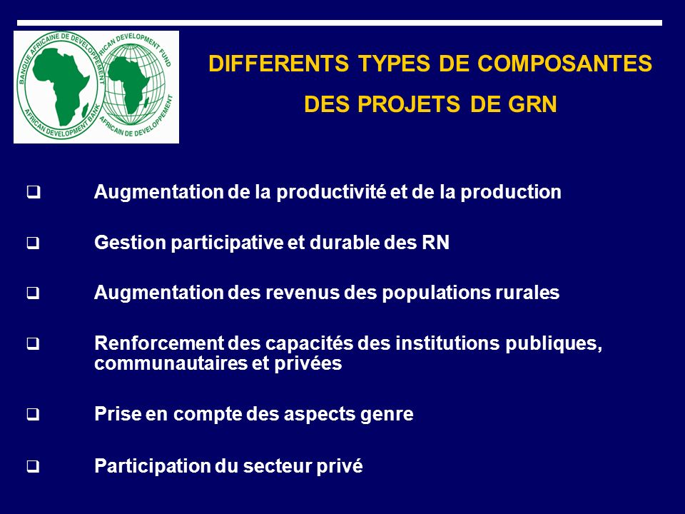 DIFFERENTS TYPES DE COMPOSANTES DES PROJETS DE GRN