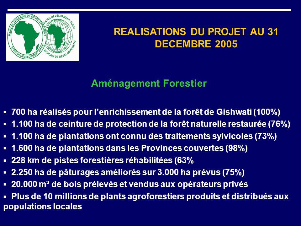REALISATIONS DU PROJET AU 31 DECEMBRE 2005 Aménagement Forestier