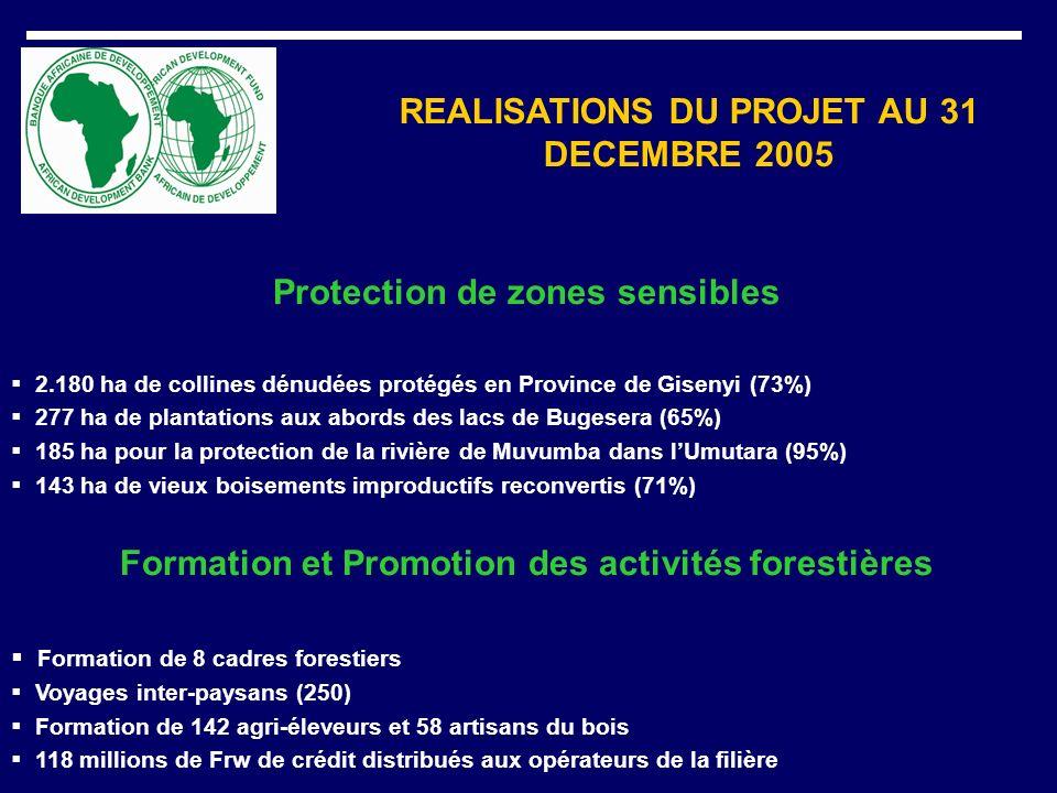REALISATIONS DU PROJET AU 31 DECEMBRE 2005