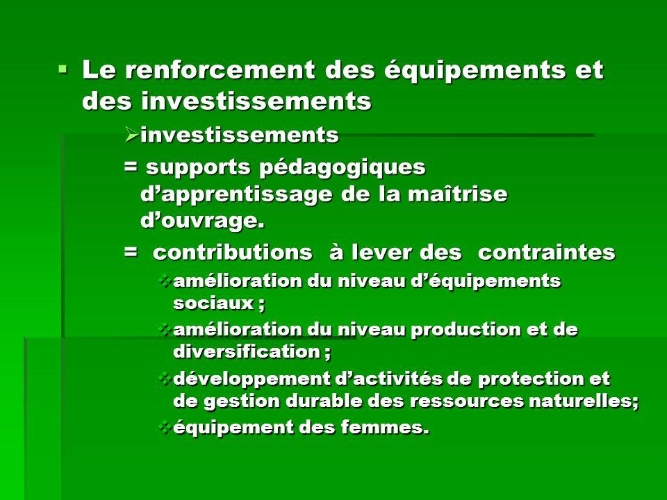 Le renforcement des équipements et des investissements