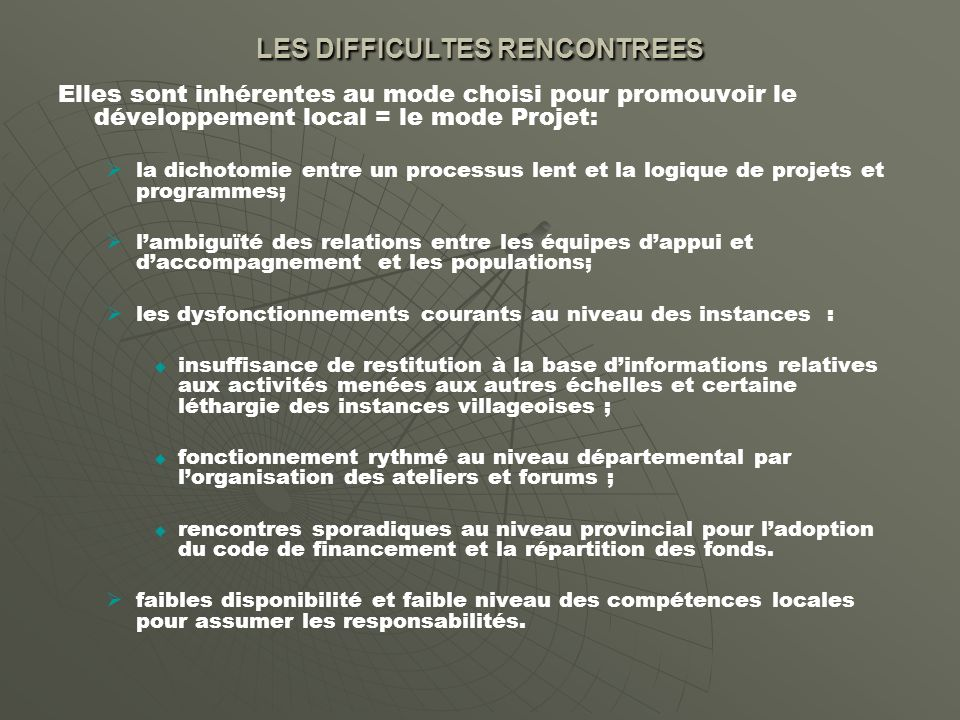 LES DIFFICULTES RENCONTREES