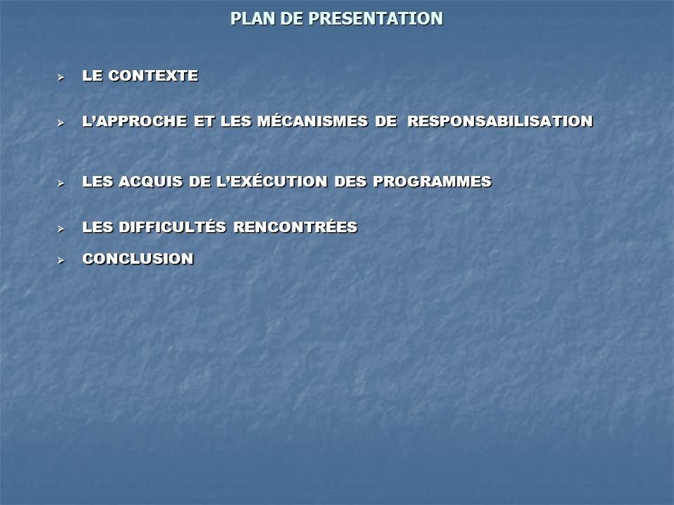 PLAN DE PRESENTATION LE CONTEXTE