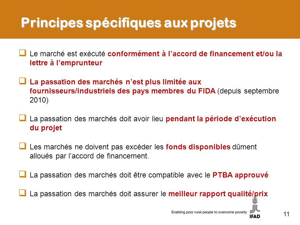 Principes spécifiques aux projets