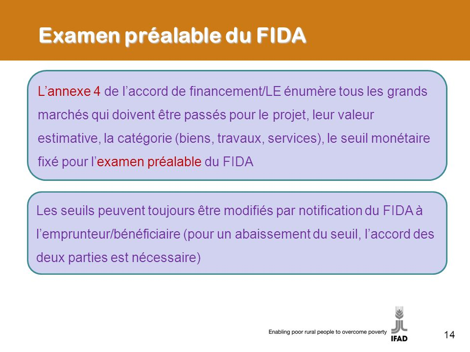 Examen préalable du FIDA
