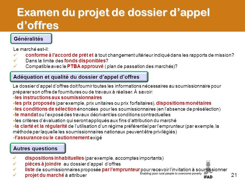 Examen du projet de dossier d'appel d'offres