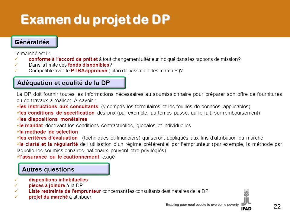 Examen du projet de DP Généralités Adéquation et qualité de la DP
