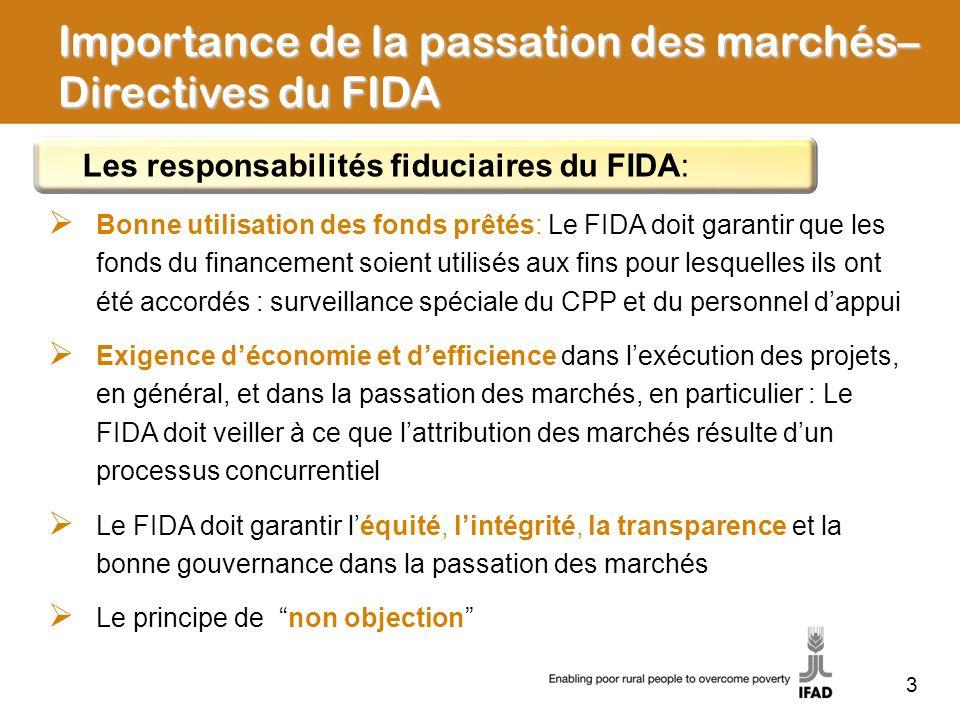 Importance de la passation des marchés– Directives du FIDA