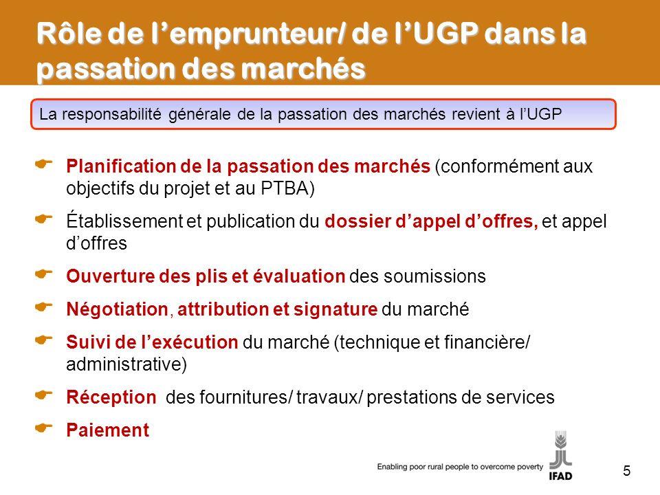 Rôle de l'emprunteur/ de l'UGP dans la passation des marchés