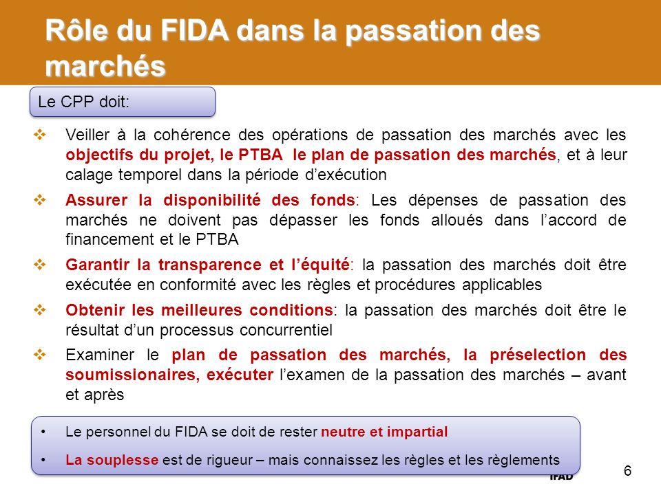 Rôle du FIDA dans la passation des marchés