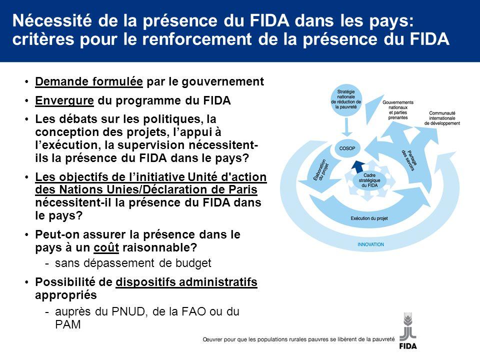 Nécessité de la présence du FIDA dans les pays: critères pour le renforcement de la présence du FIDA