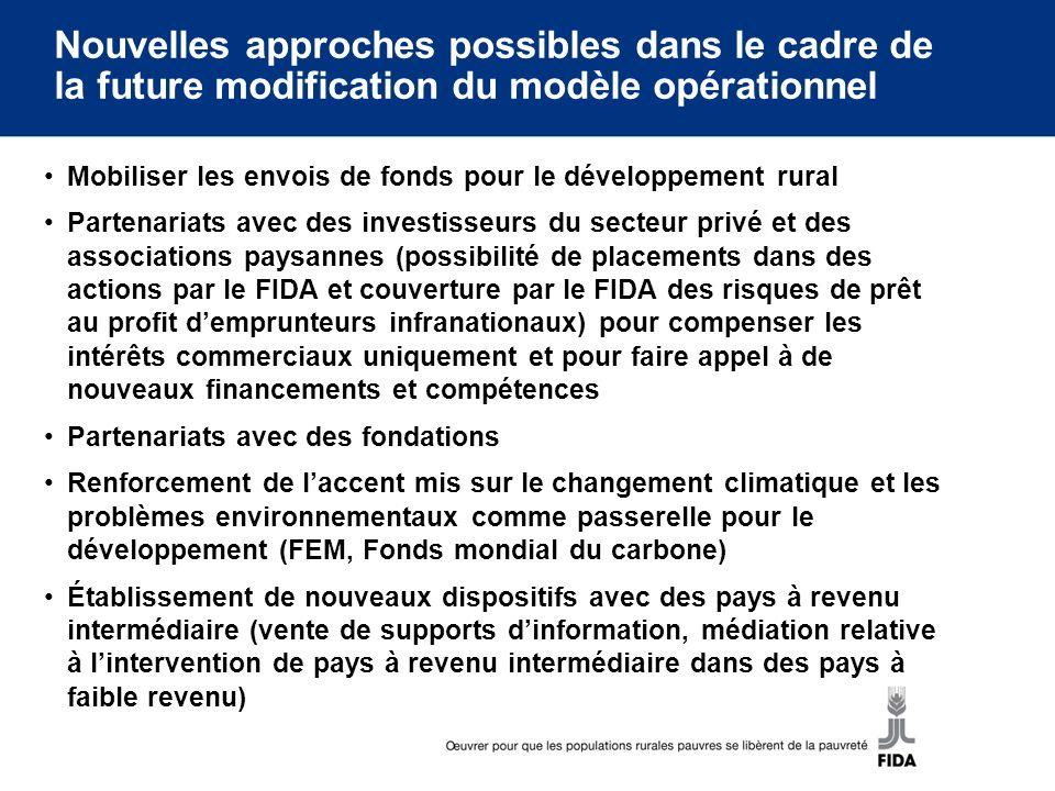 Nouvelles approches possibles dans le cadre de la future modification du modèle opérationnel