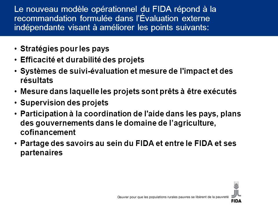 Le nouveau modèle opérationnel du FIDA répond à la recommandation formulée dans l'Évaluation externe indépendante visant à améliorer les points suivants: