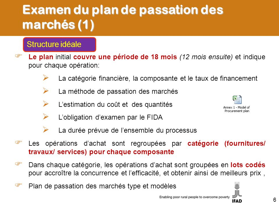 Examen du plan de passation des marchés (1)