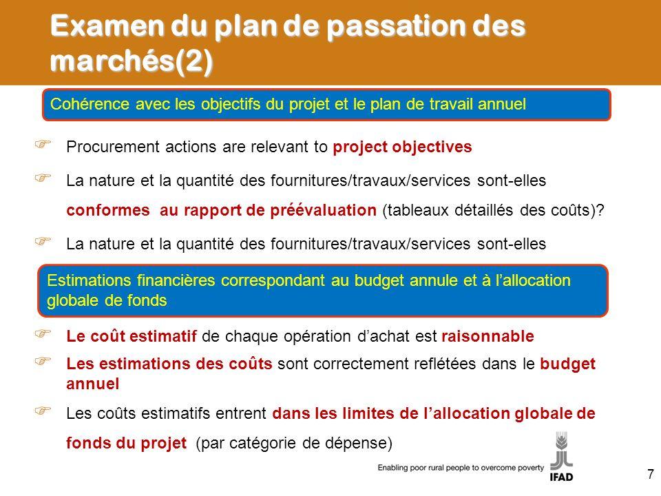 Examen du plan de passation des marchés(2)