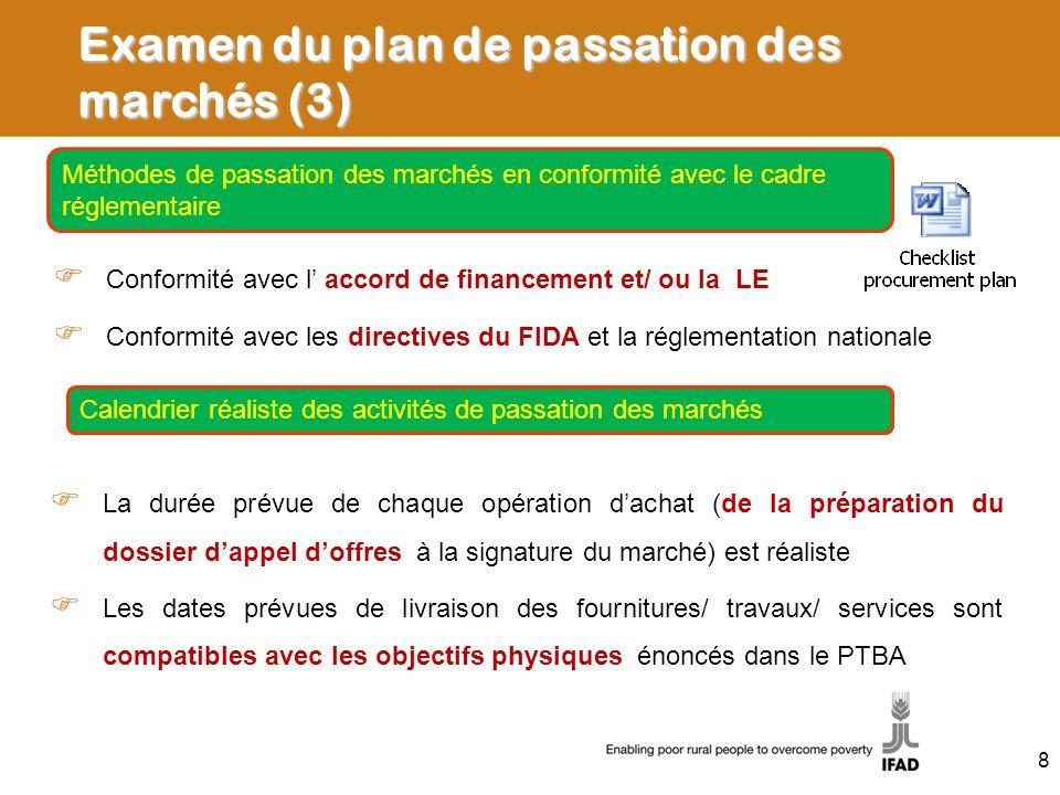 Examen du plan de passation des marchés (3)