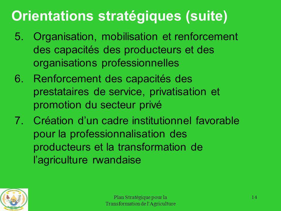 Orientations stratégiques (suite)