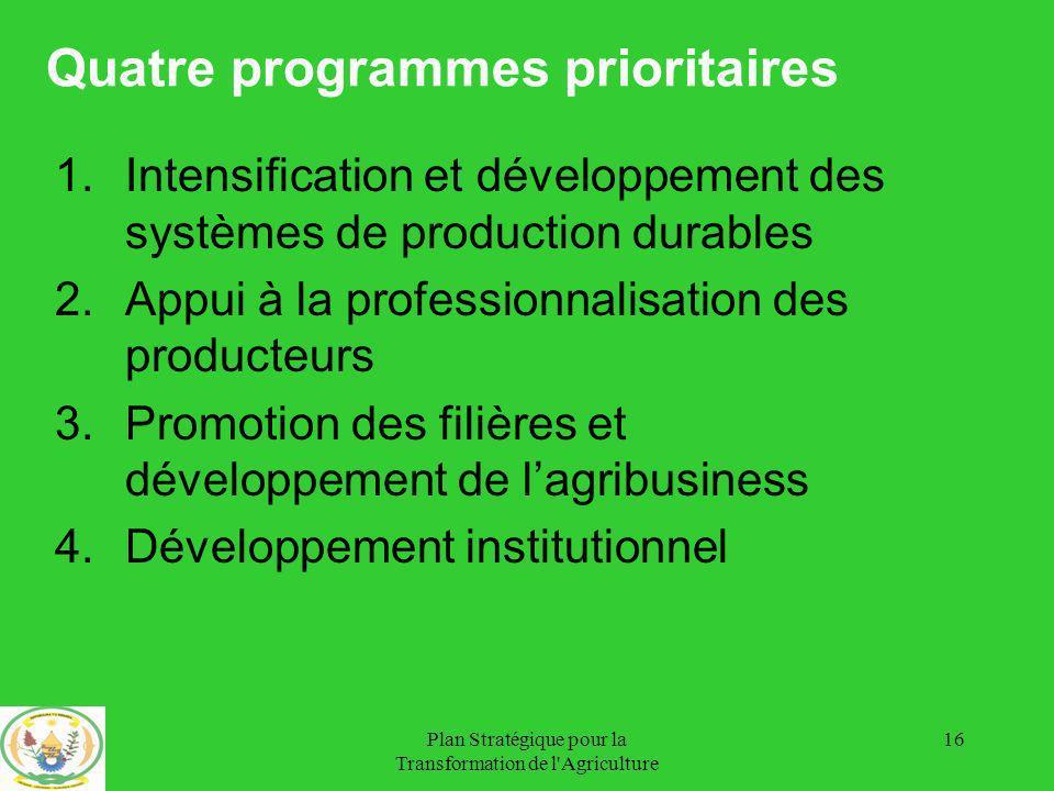 Quatre programmes prioritaires