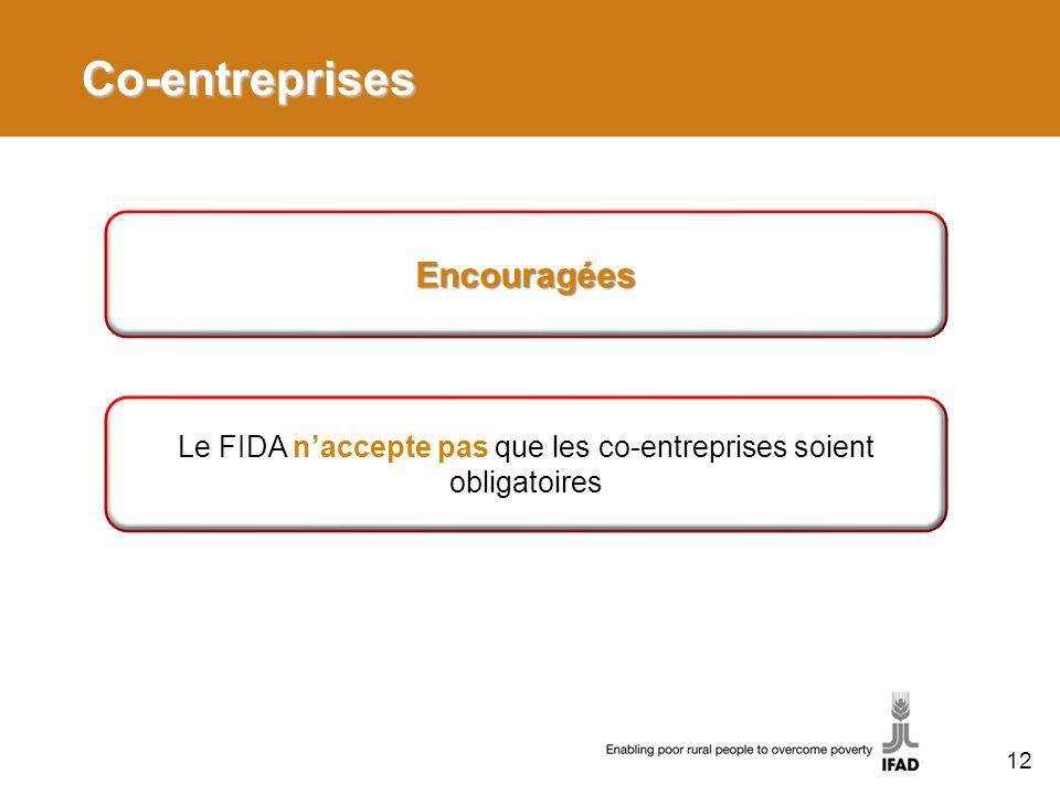 Le FIDA n'accepte pas que les co-entreprises soient obligatoires