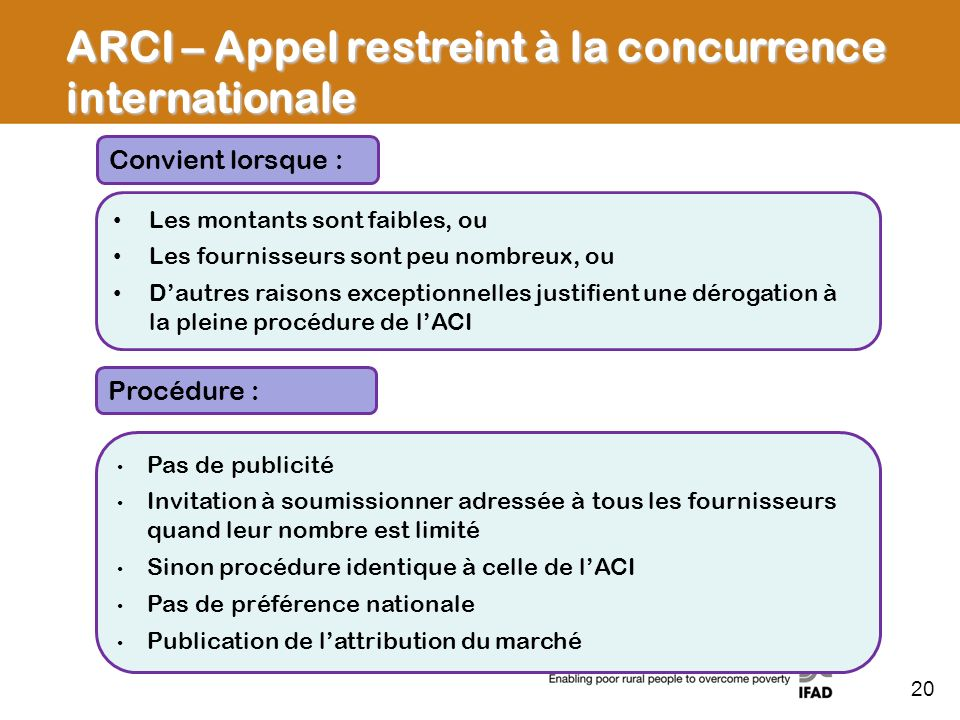 ARCI – Appel restreint à la concurrence internationale