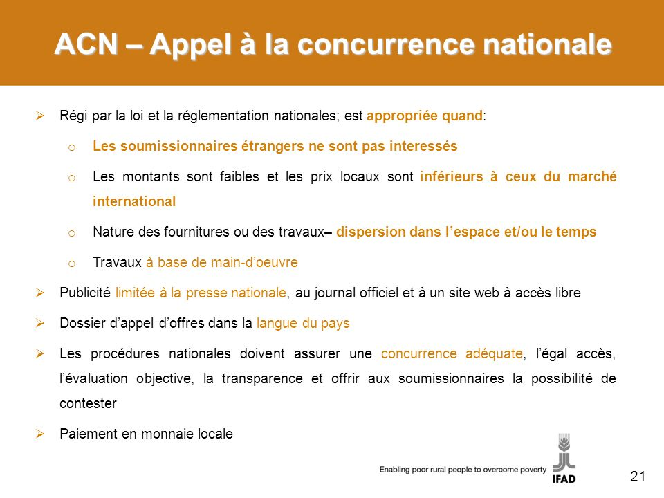 ACN – Appel à la concurrence nationale