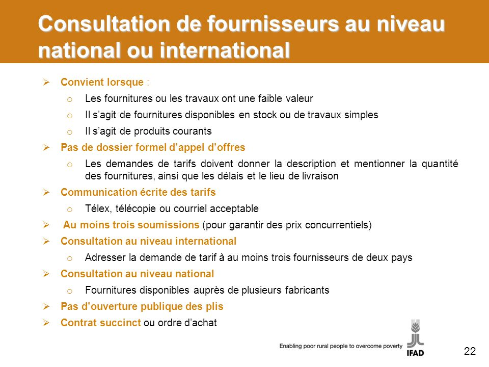 Consultation de fournisseurs au niveau national ou international