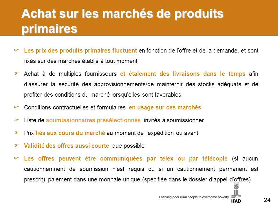 Achat sur les marchés de produits primaires