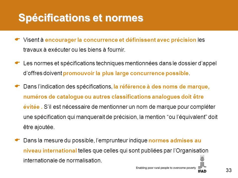Spécifications et normes