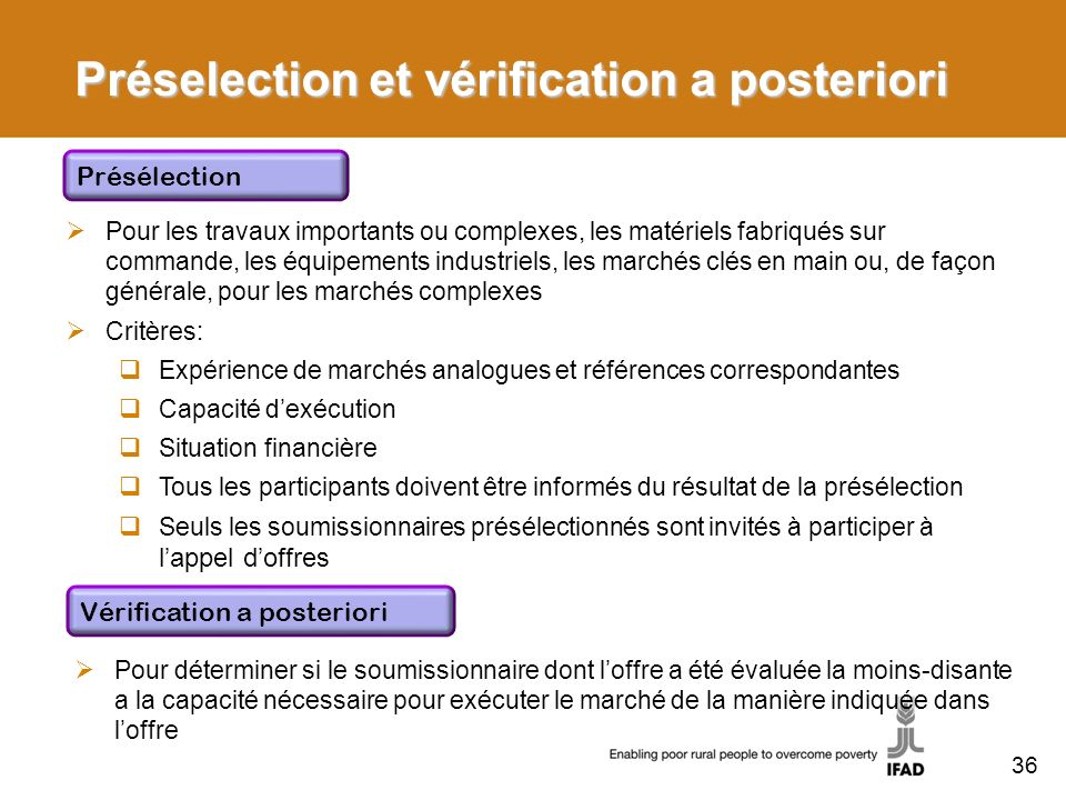 Préselection et vérification a posteriori