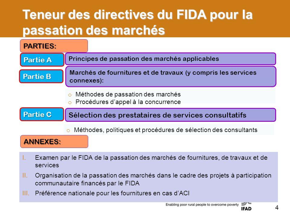 Teneur des directives du FIDA pour la passation des marchés