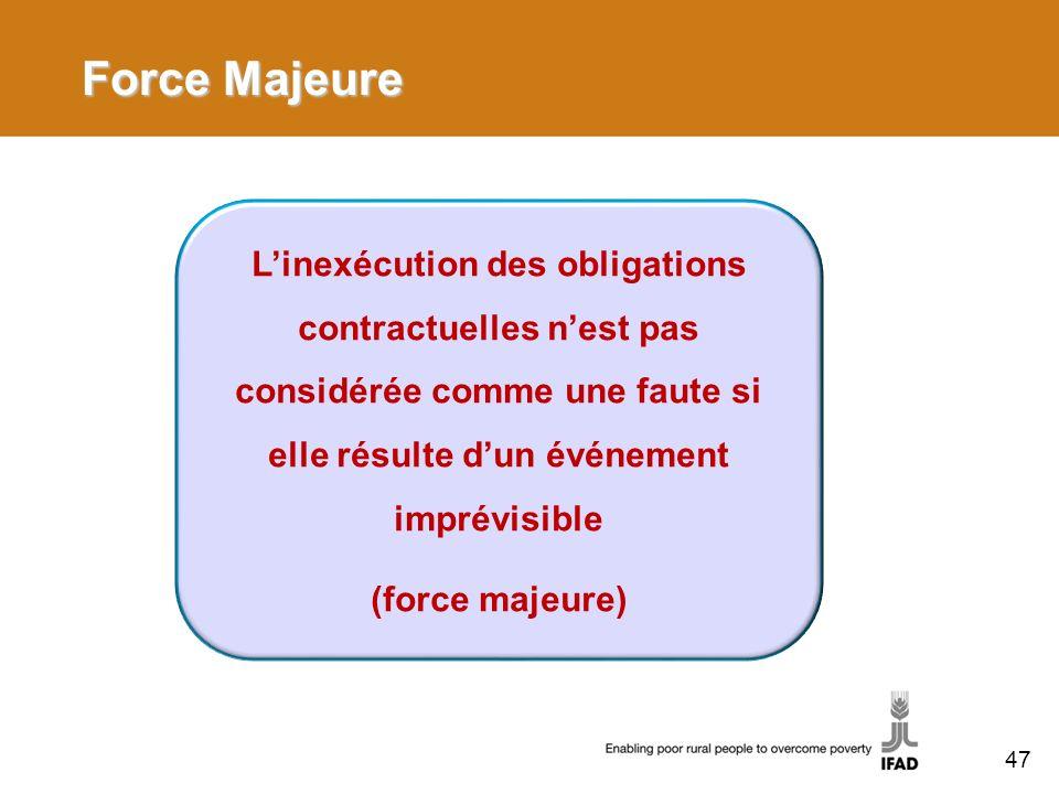 Force Majeure L'inexécution des obligations contractuelles n'est pas considérée comme une faute si elle résulte d'un événement imprévisible.