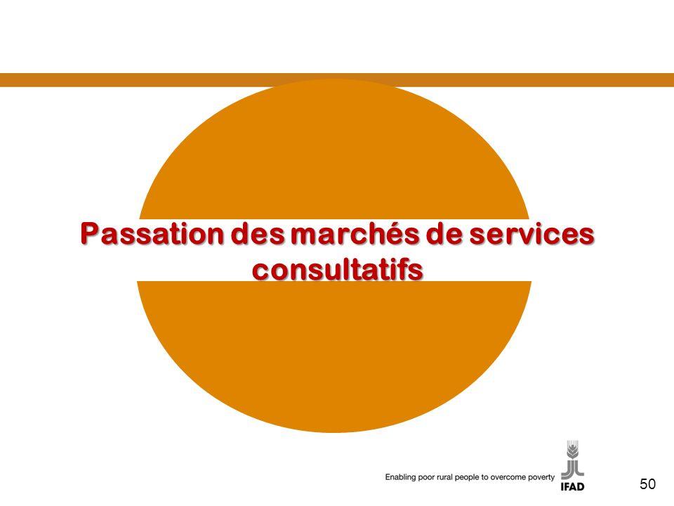Passation des marchés de services consultatifs