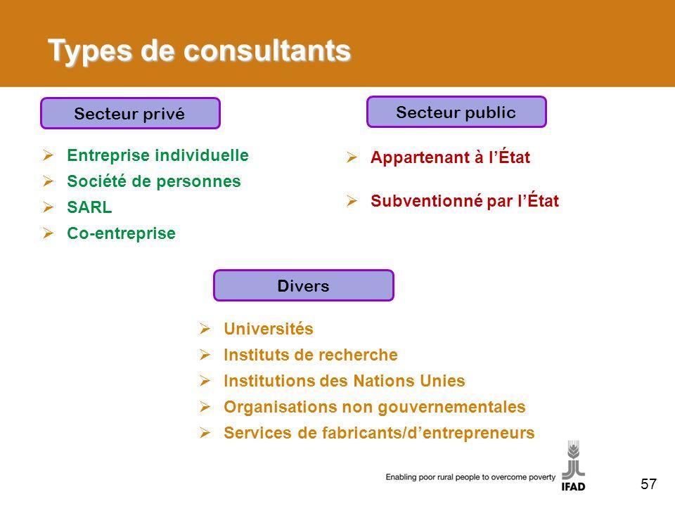 Types de consultants Secteur privé Secteur public
