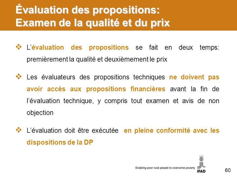 Évaluation des propositions: Examen de la qualité et du prix