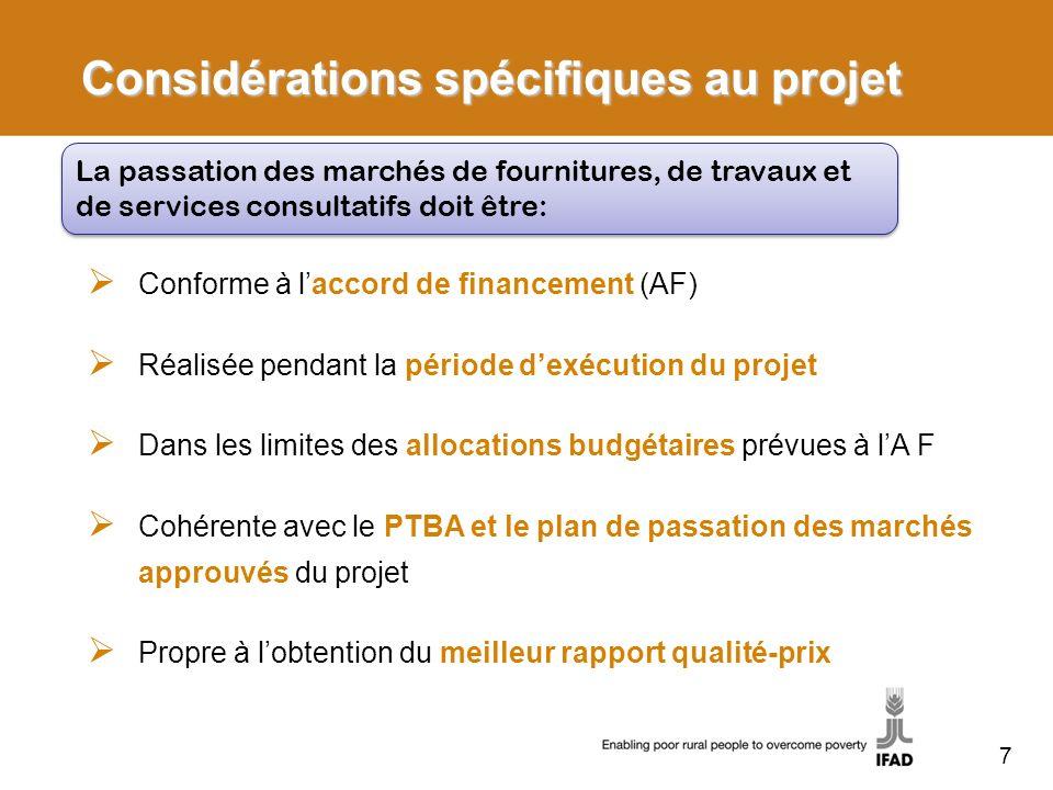 Considérations spécifiques au projet