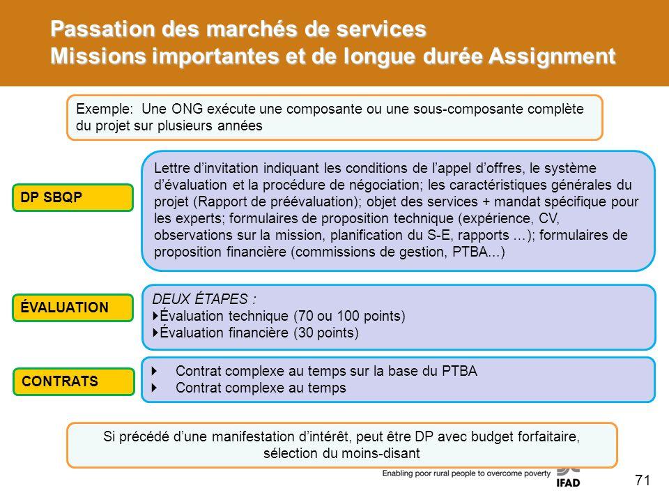 Passation des marchés de services Missions importantes et de longue durée Assignment