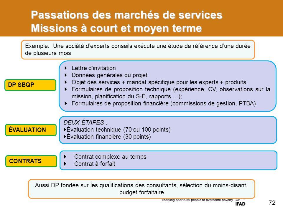 Passations des marchés de services Missions à court et moyen terme