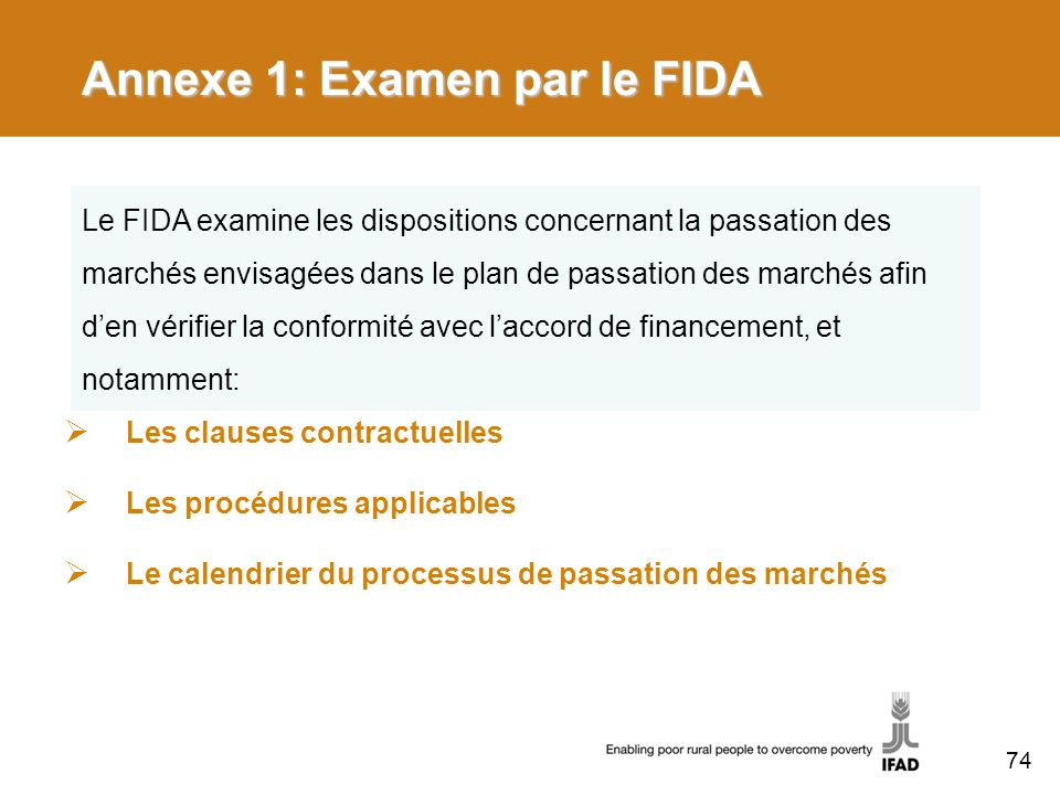 Annexe 1: Examen par le FIDA