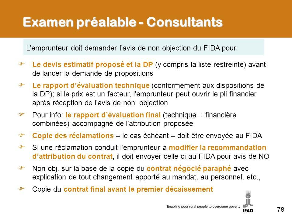 Examen préalable - Consultants