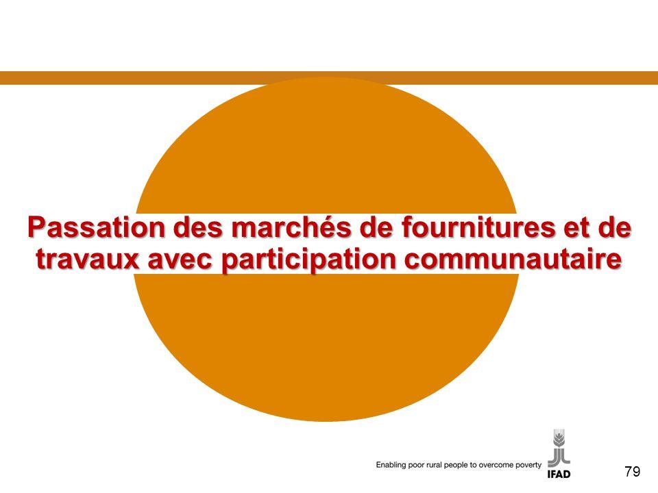 Passation des marchés de fournitures et de travaux avec participation communautaire