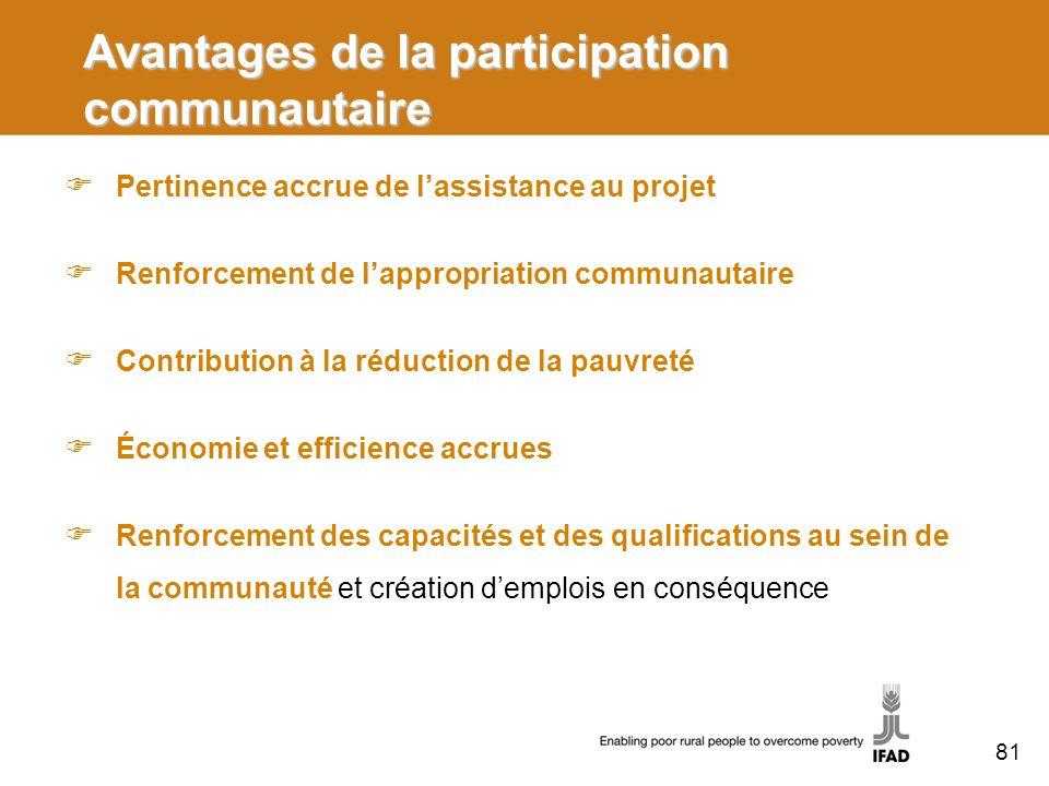 Avantages de la participation communautaire