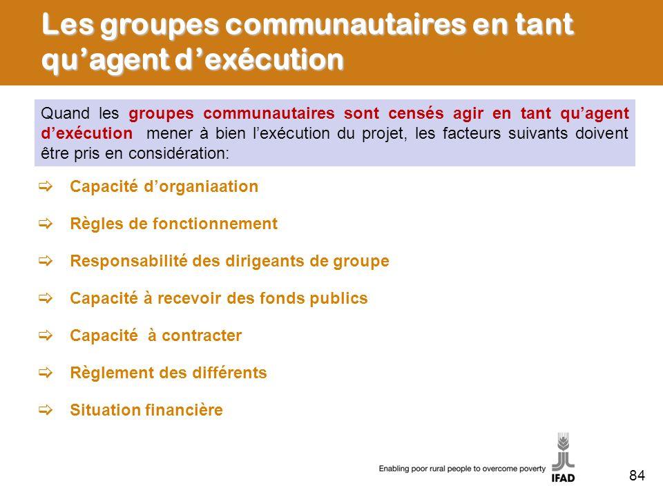 Les groupes communautaires en tant qu'agent d'exécution