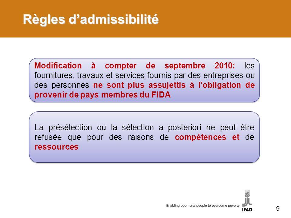 Règles d'admissibilité