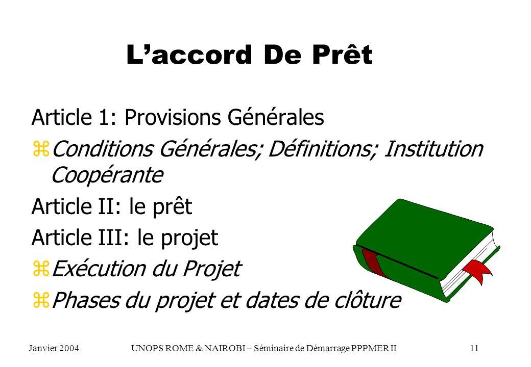 L'accord De Prêt Article 1: Provisions Générales