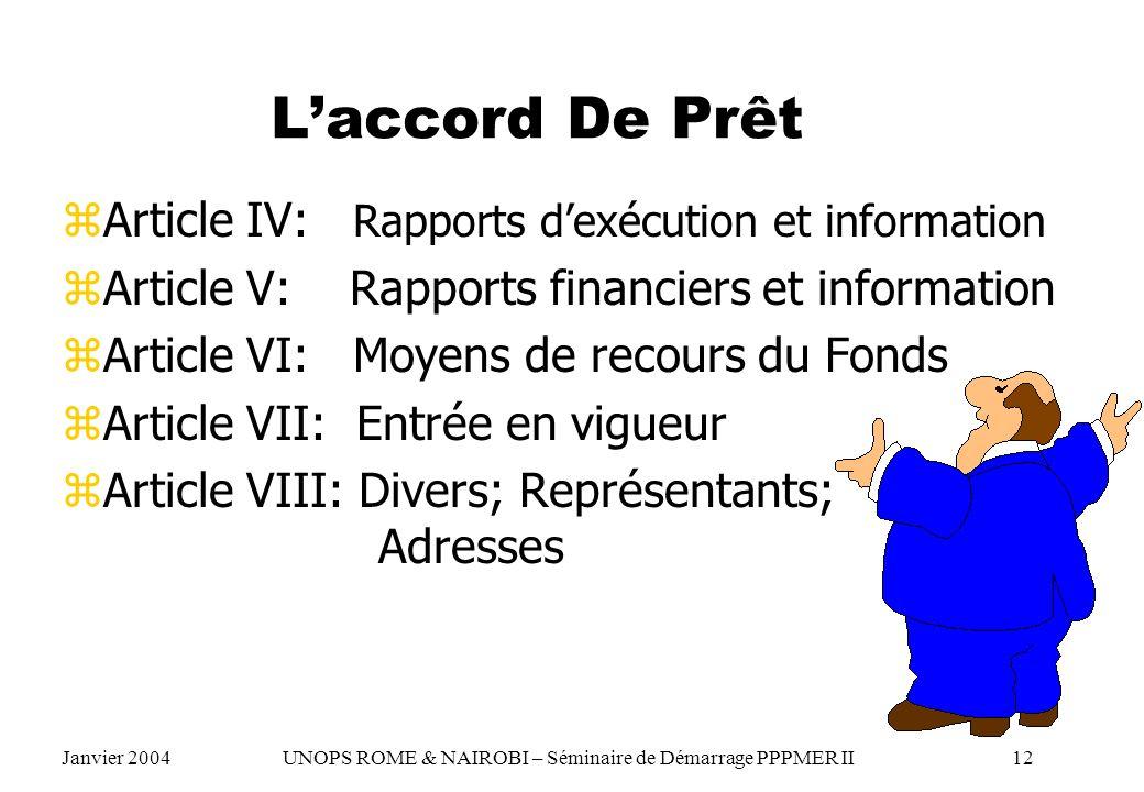 L'accord De Prêt Article IV: Rapports d'exécution et information