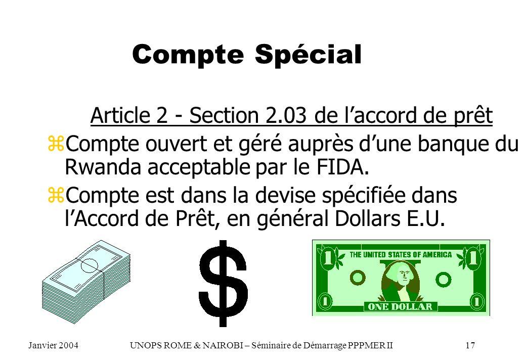 Article 2 - Section 2.03 de l'accord de prêt