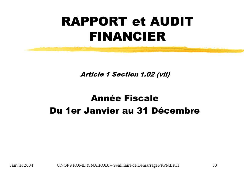 RAPPORT et AUDIT FINANCIER