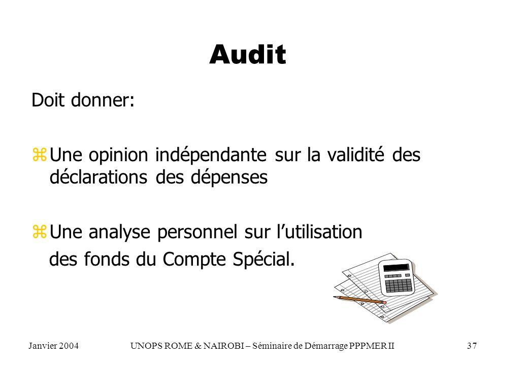 Audit Doit donner: Une opinion indépendante sur la validité des déclarations des dépenses. Une analyse personnel sur l'utilisation.