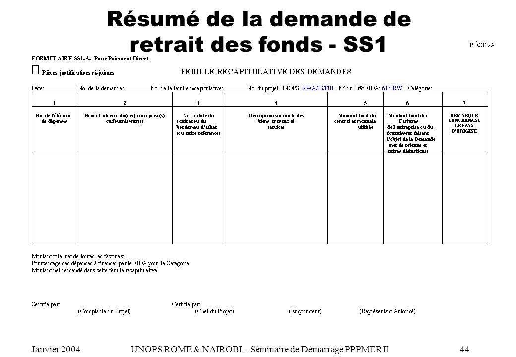Résumé de la demande de retrait des fonds - SS1