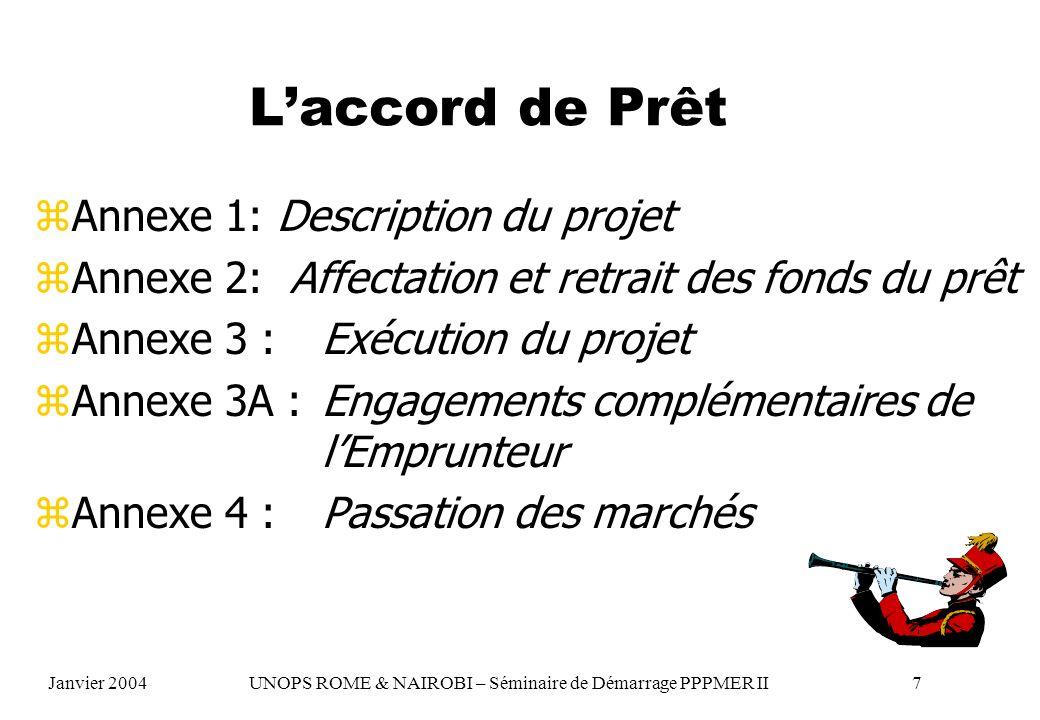 L'accord de Prêt Annexe 1: Description du projet