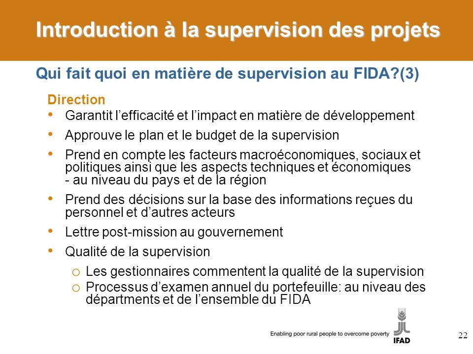 Qui fait quoi en matière de supervision au FIDA (3)
